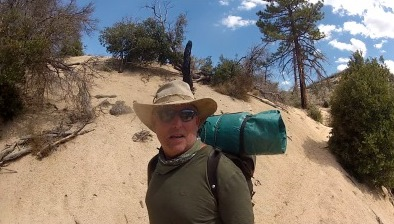 Vintage Pack and Bedroll along the PCT